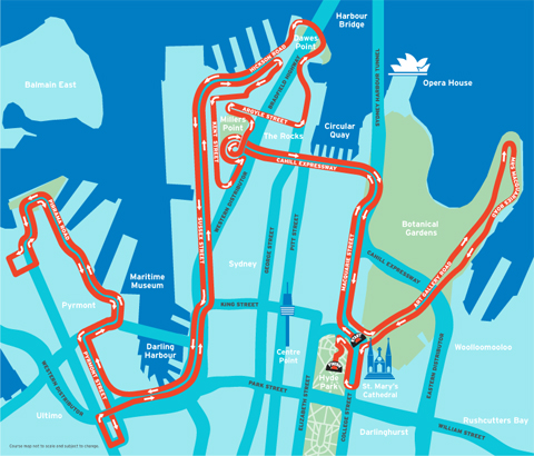 The Sydney Mourning Herald Half Marathon Course Map